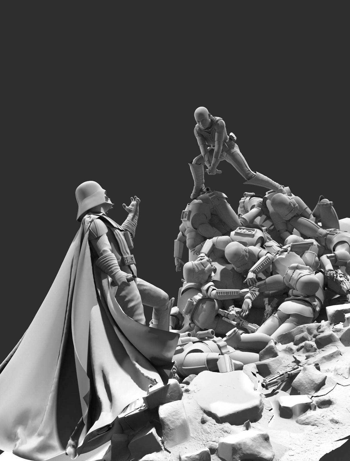 Clay Render (background architecture and troopers were rendered separately)