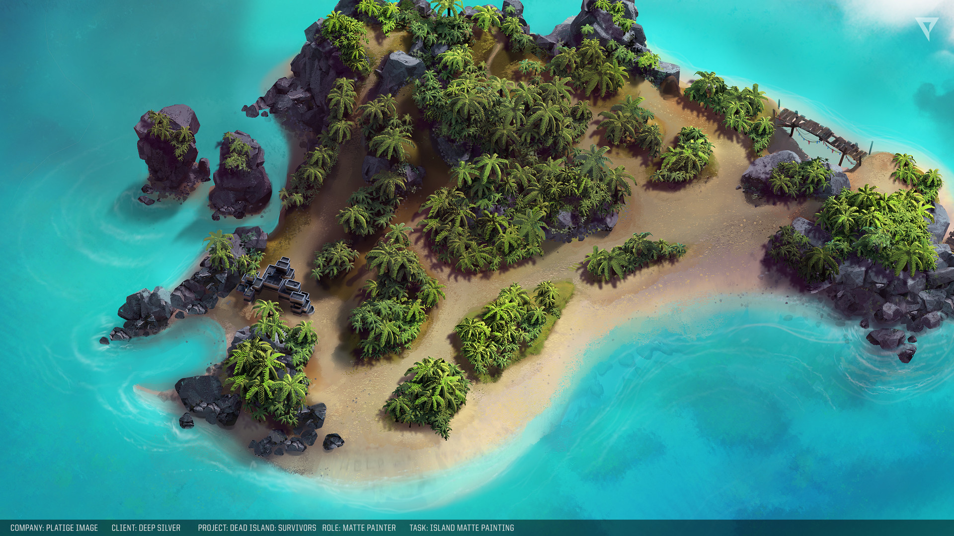 Island mattepainting 100% closeup
