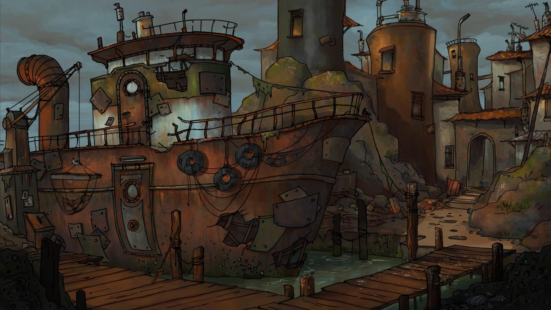 ArtStation - CANINE 49 -- 2D Point & Click Adventure -- Backgrounds