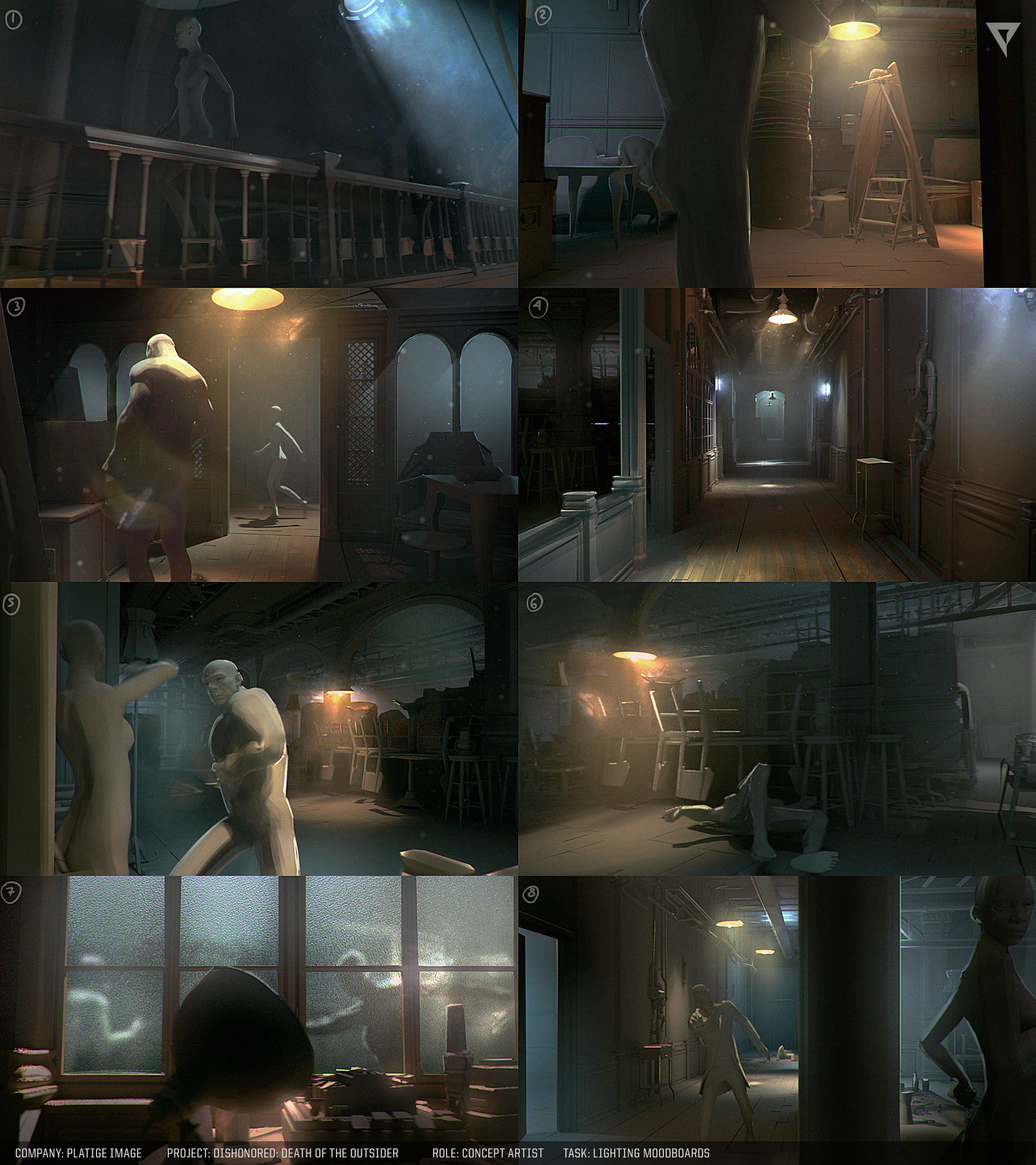 Moodboards painted over very early renders, to help establish lighting.
