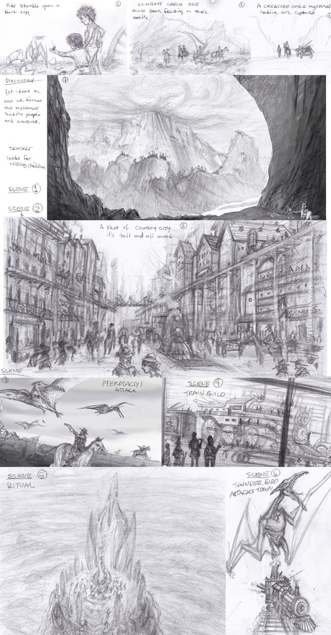 Concept sketch's for wild west story