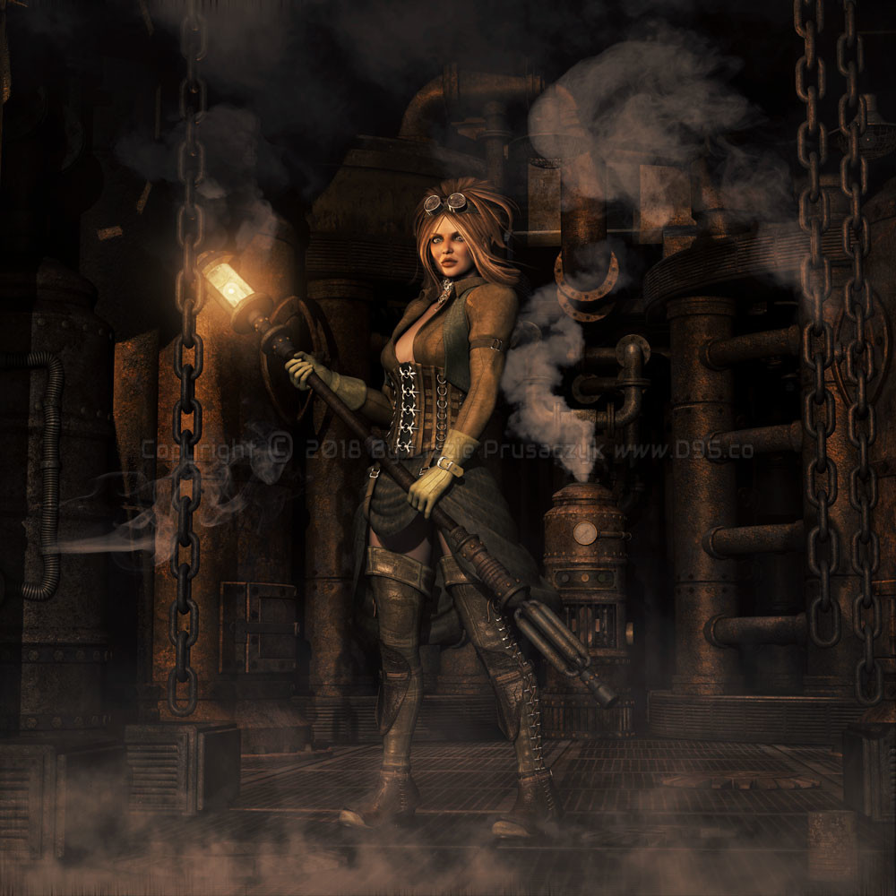 Guided by her lamp, she explores a gritty steampunk fantasy.