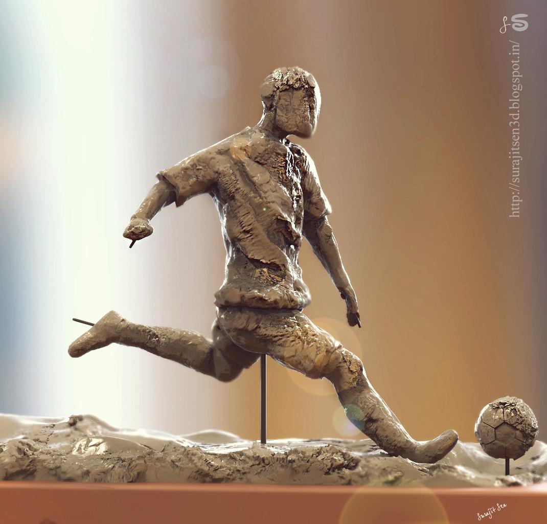 Surajit sen footballer speed sculpt by surajit sen