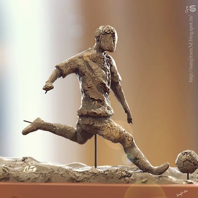 Surajit sen footballer speed sculpt by surajit sen