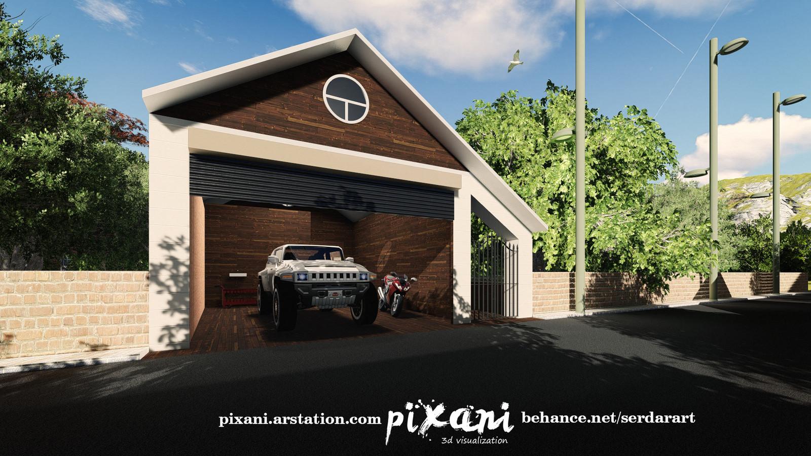 Venend Home garage and garden entrance