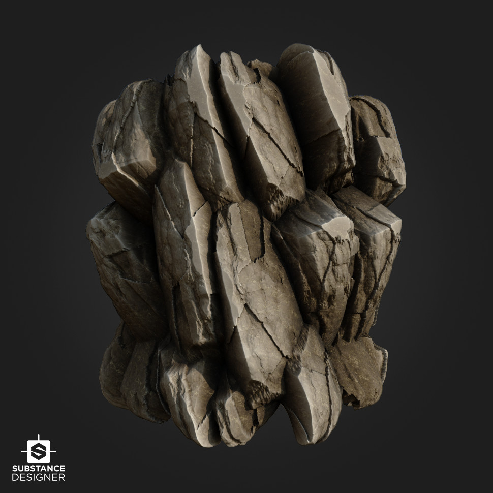 Simple rock designed for an in-class assignment on using only procedural textures before moving onto more complex materials.
