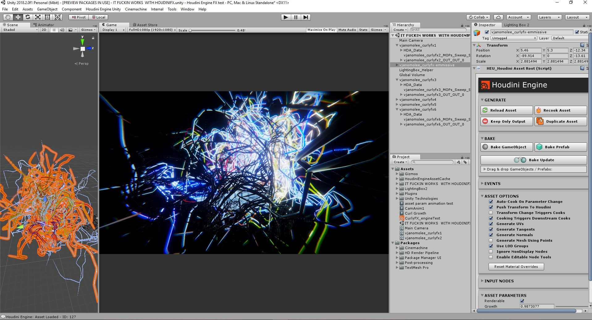 ArtStation - Curl Noise MOP experiments in Houdini Engine in