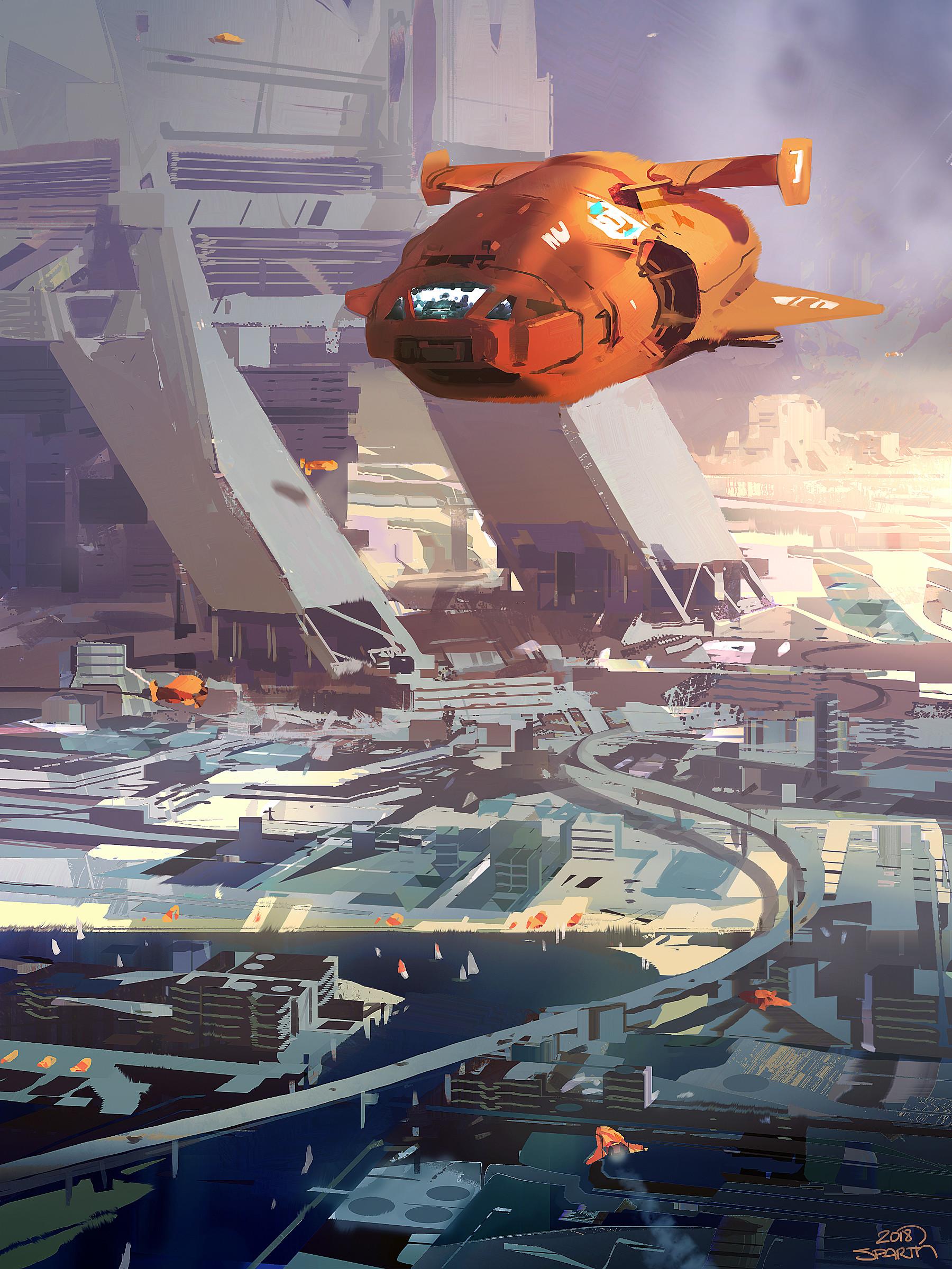 Sparth orange spaceship over city small