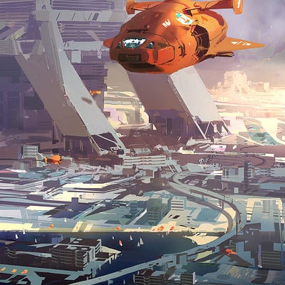 Sparth orange spaceship over city small