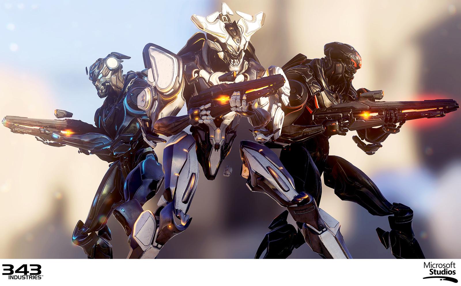In-engine render of all Promethean Soldier variants (Soldier, Officer, Sniper)