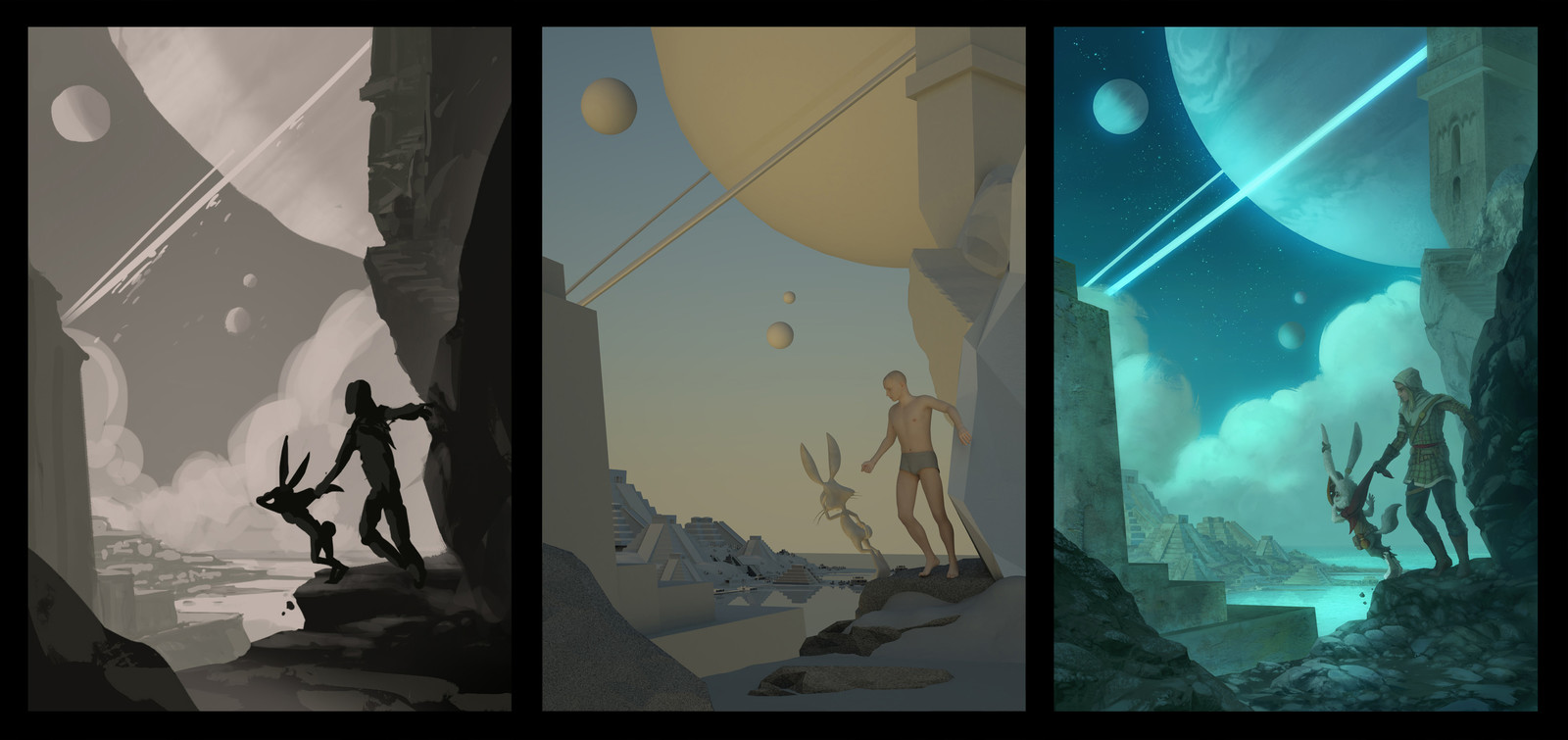 Final sketch, 3D render and finished painting