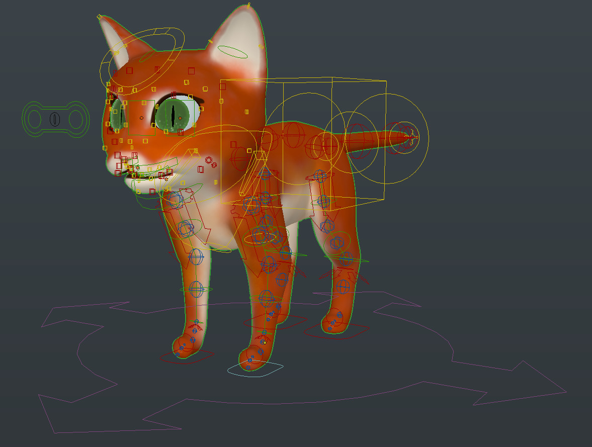 "Neko's rig, generated by Blender's ""Rigify"" addon and customised."