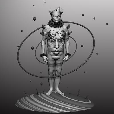 3d sculpt Moon man