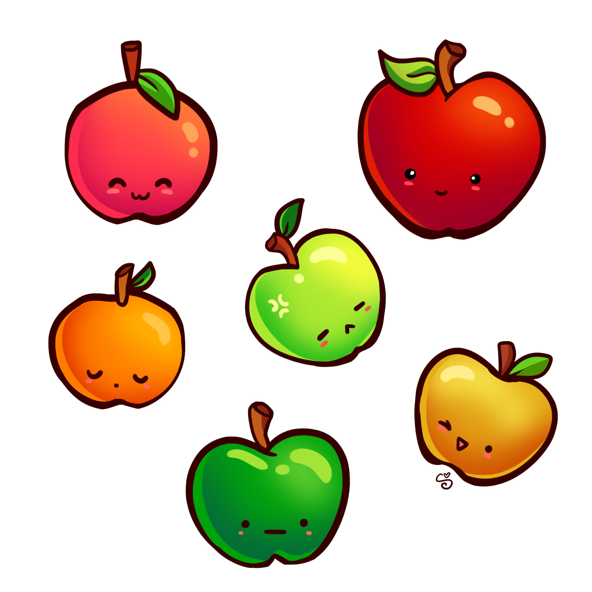 Shellz art kawaii apples