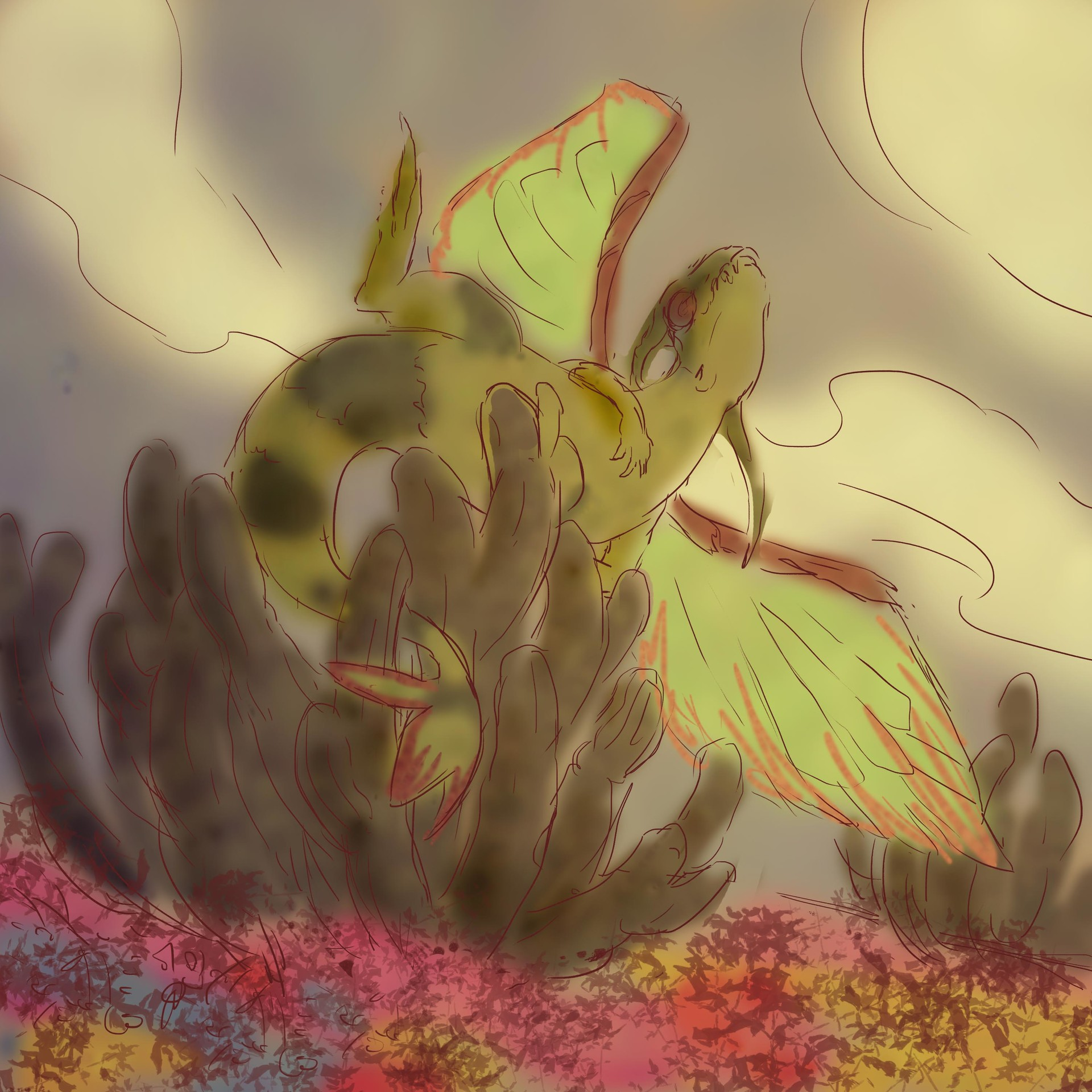 Sketch 1 - Flygon rejoices scrathing its back on the flowering desert cacti.