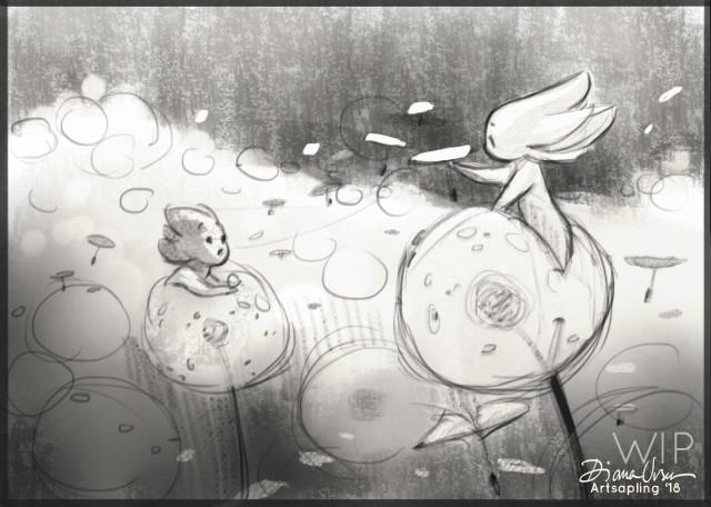 Diana ursu dandelion playtime sketch by artsapling