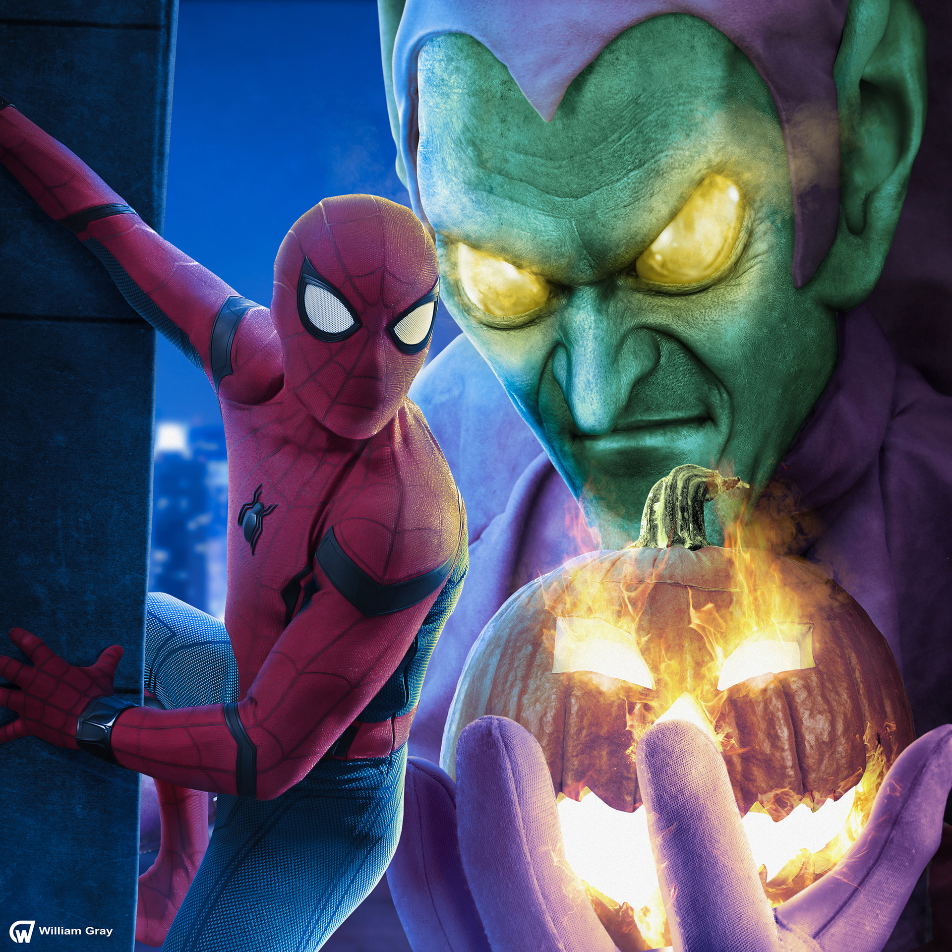 artstation mcu spiderman giant green goblin william gray