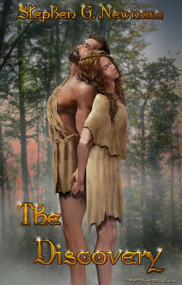 """""""The Discovery"""" a novel by Steve G. Newman. Characters morph targets modeled with Poser and rendered with Bryce 3D. Trees, sunset skyline clothing, hair, skin textures and special effects painted with Photoshop."""