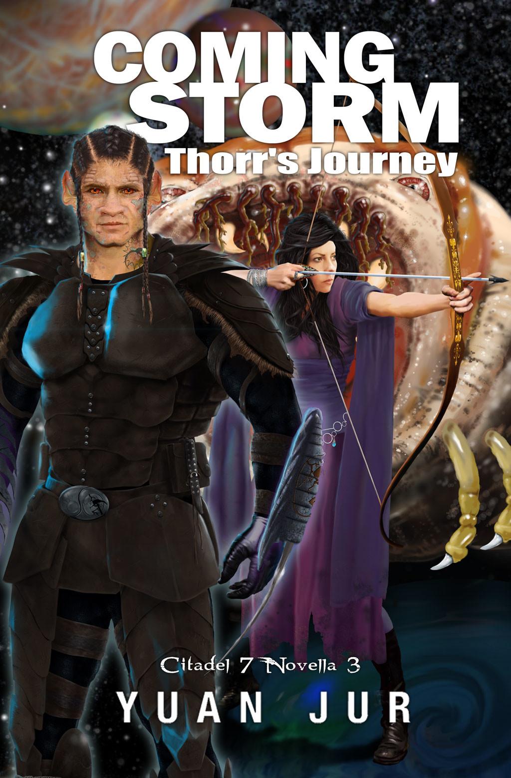 Coming Storm digital book cover design for sci-fi book series Citadel 7 by Yuan Jur. Character development & concept art of Thorr & Princess Nattai.