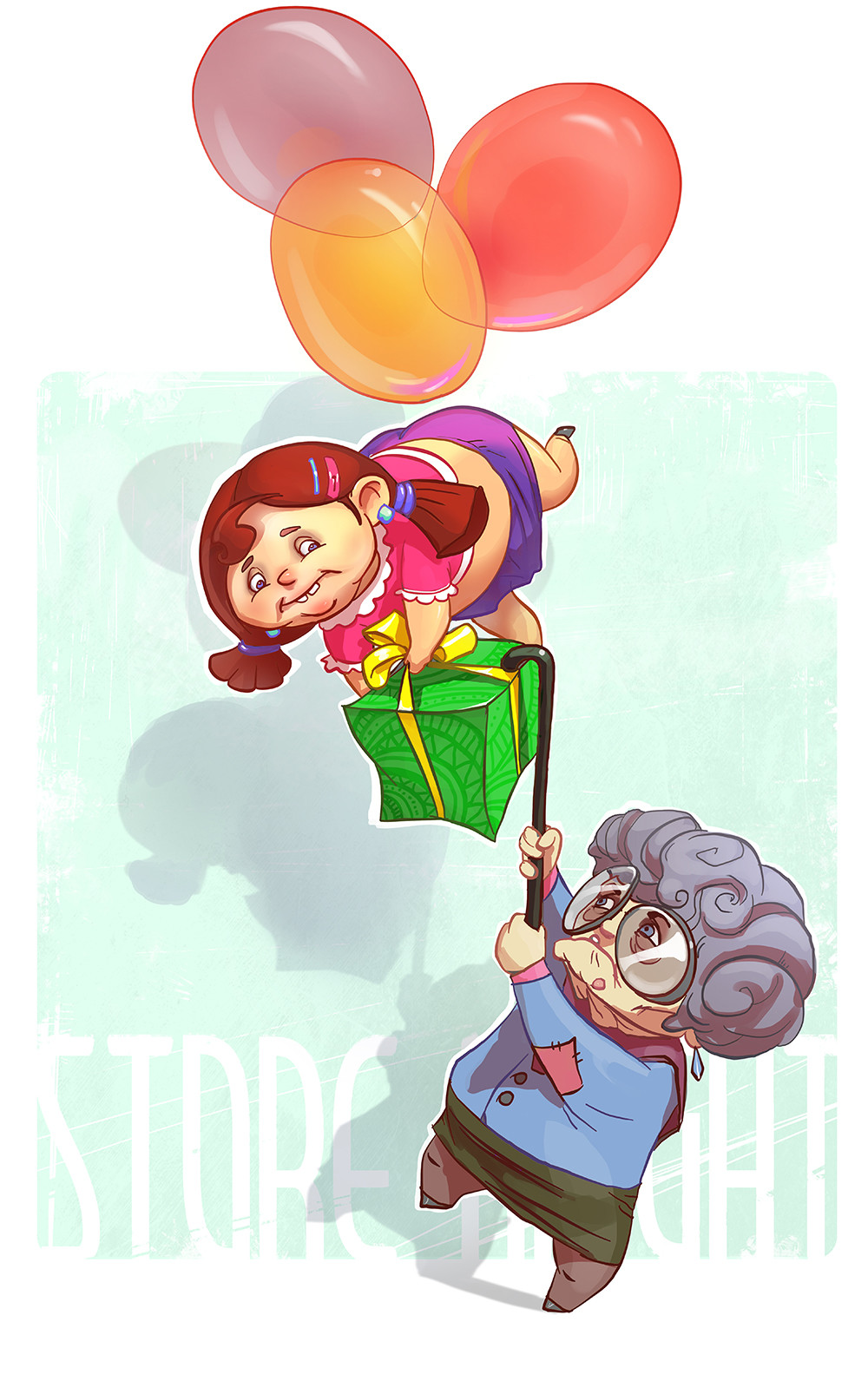 A girl with balloons
