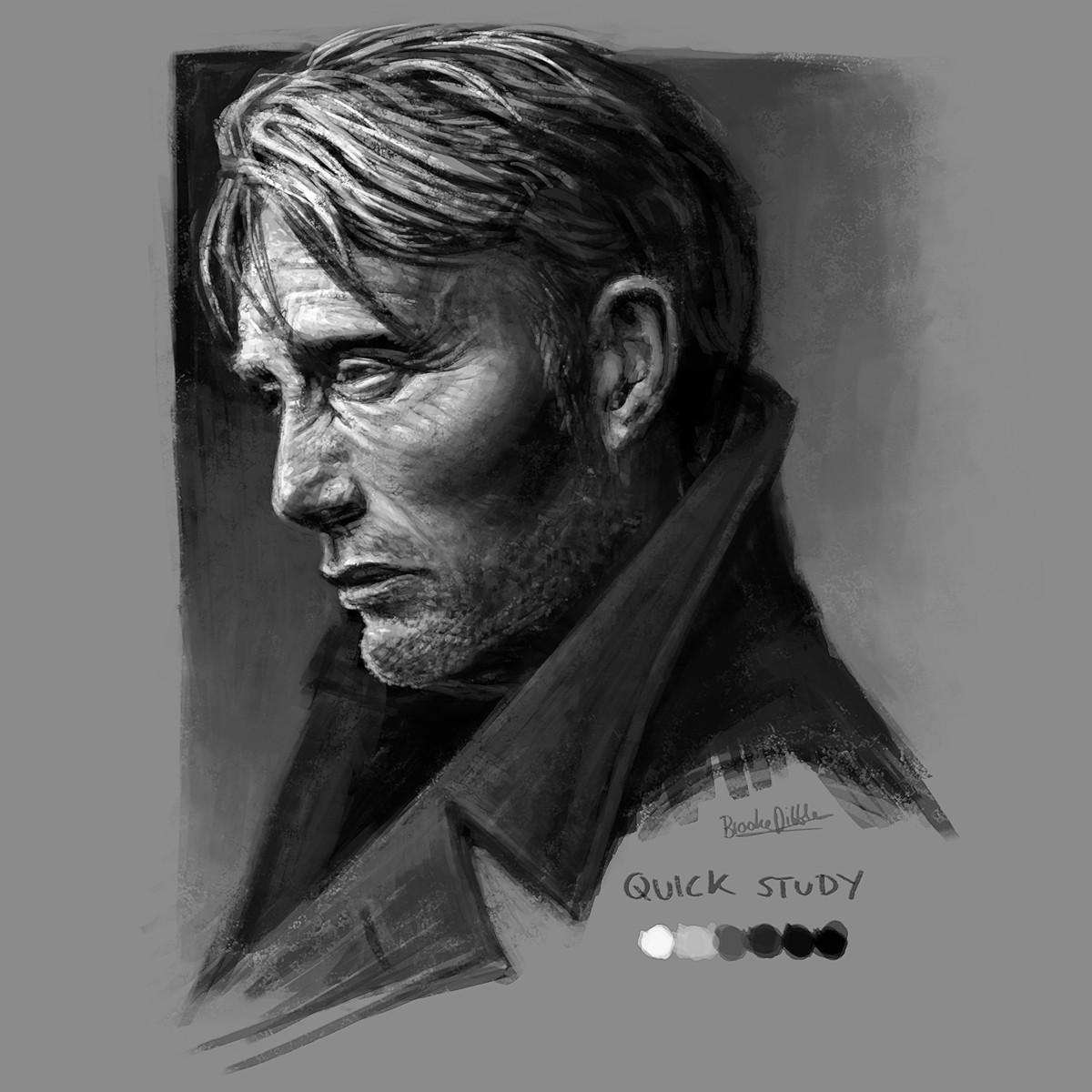Mads Mikkelsen quick portrait study