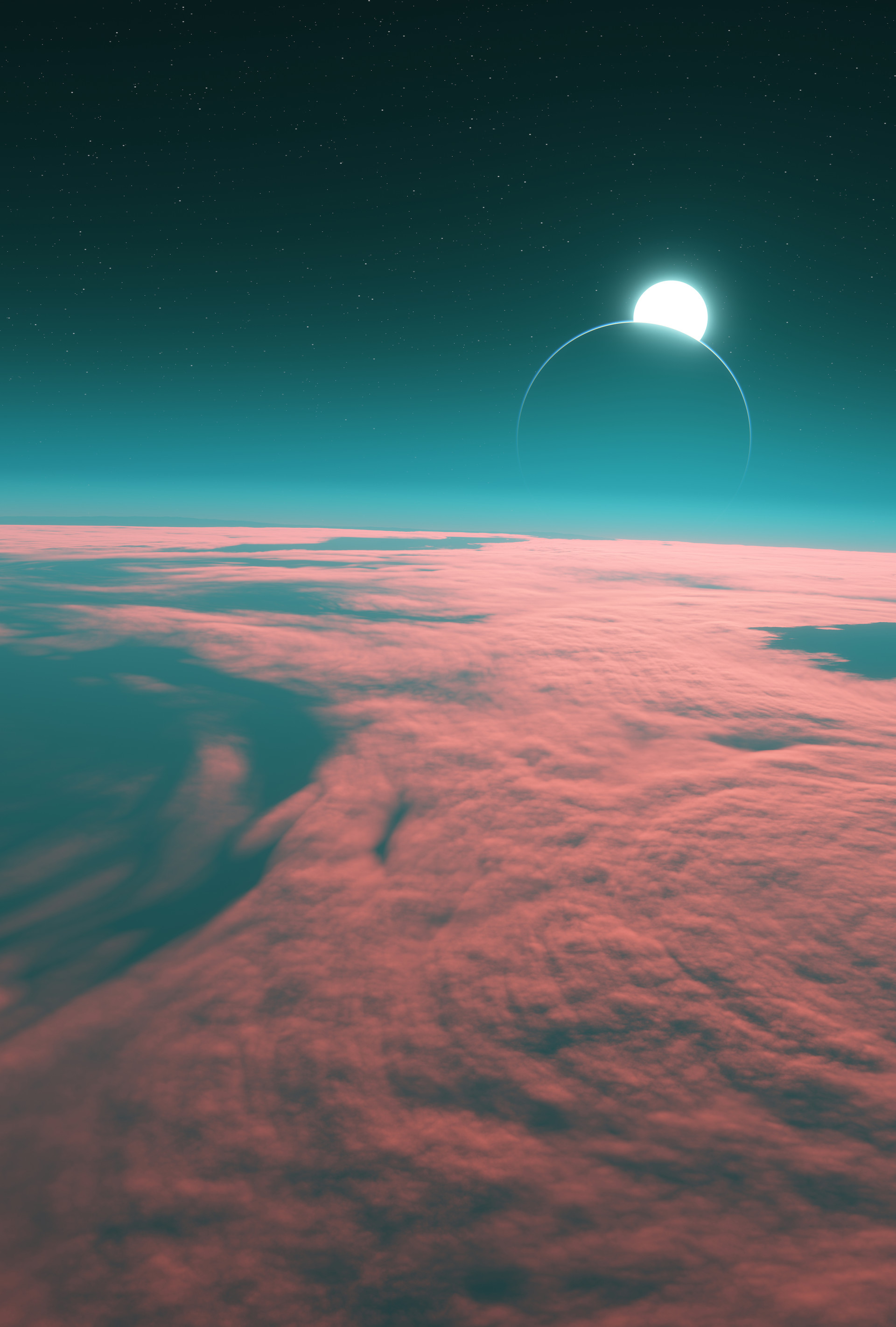 Skimming the reddened clouds of a potentially habitable super-earth with its moon visible.