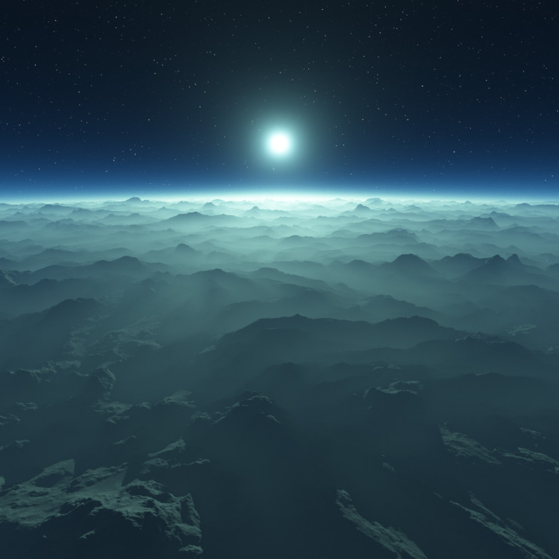 Airel shot of hazy atmosphere around a blue tinted star
