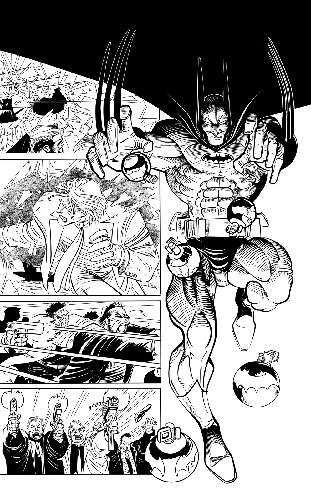 Batman and Punisher Page 27 Sample Inks