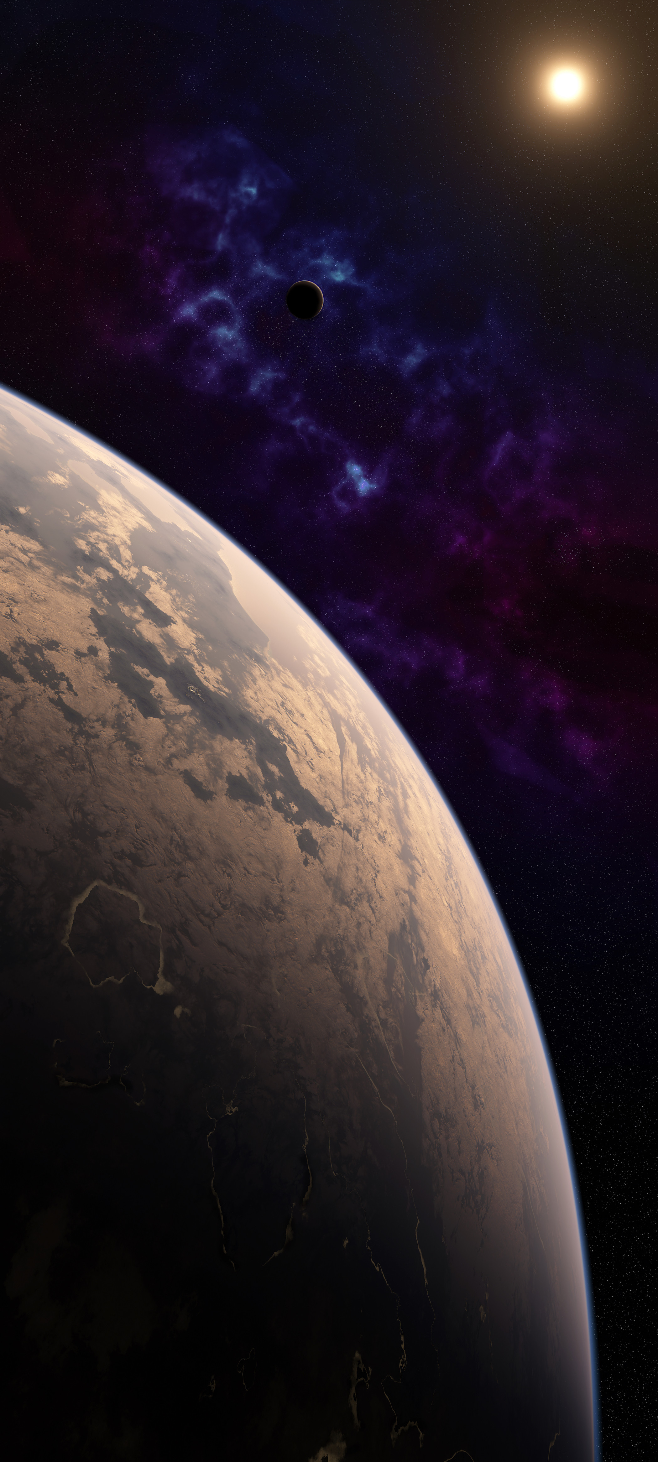 A habitable super-earth orbits an M-star in the midst of an old nebula.