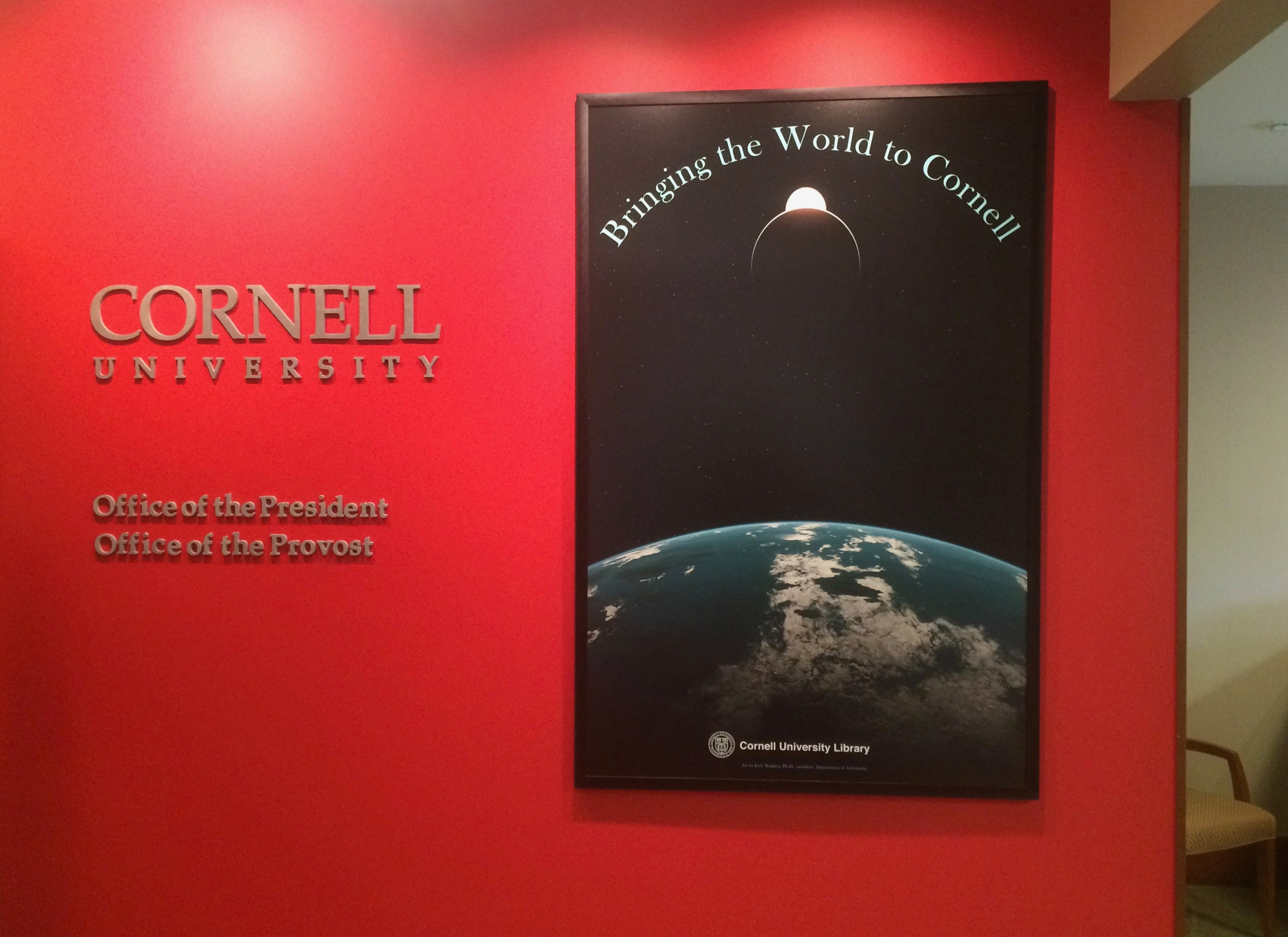 My work hung outside the President's office at Cornell University.