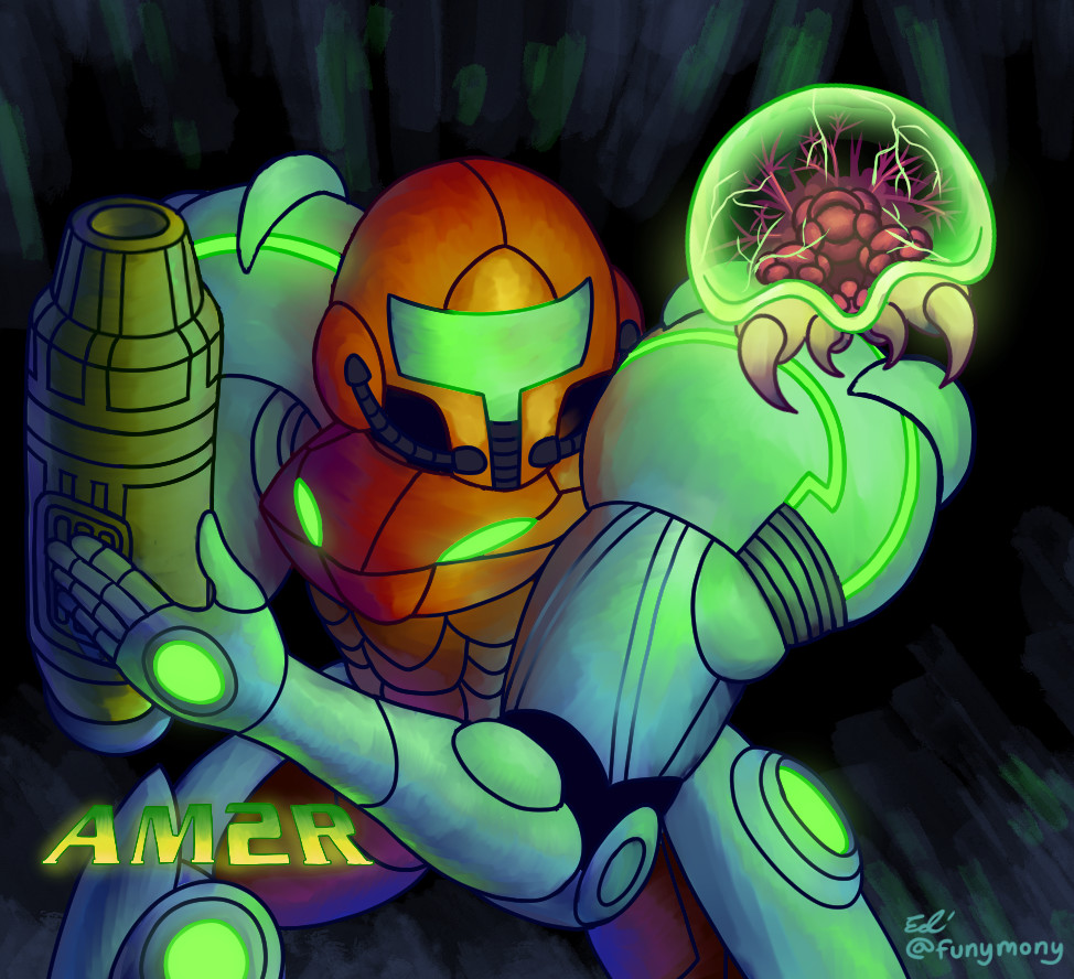 AM2R is a fan-made Metroid game that I really enjoyed. I drew this picture to celebrate its release.