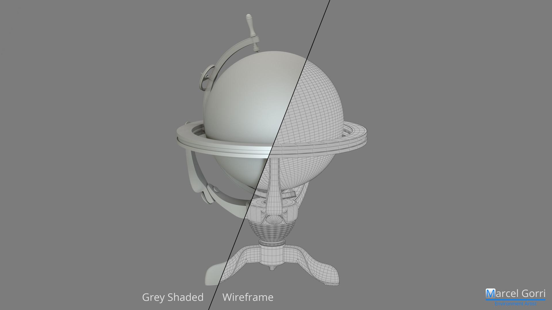 World Globe - Breakdown: Grey Shaded / Wireframe