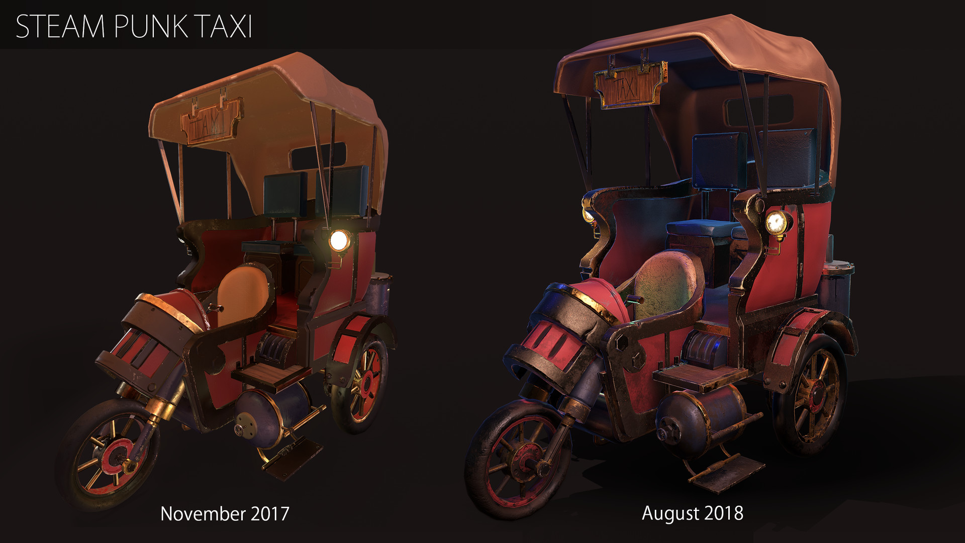 I started to work on this model during a hard surface course & a texturing course that followed last year. When I started I wasn't that comfortable with ZBrush and I had never used Substance Painter. I am happy to see that I have developed since then.