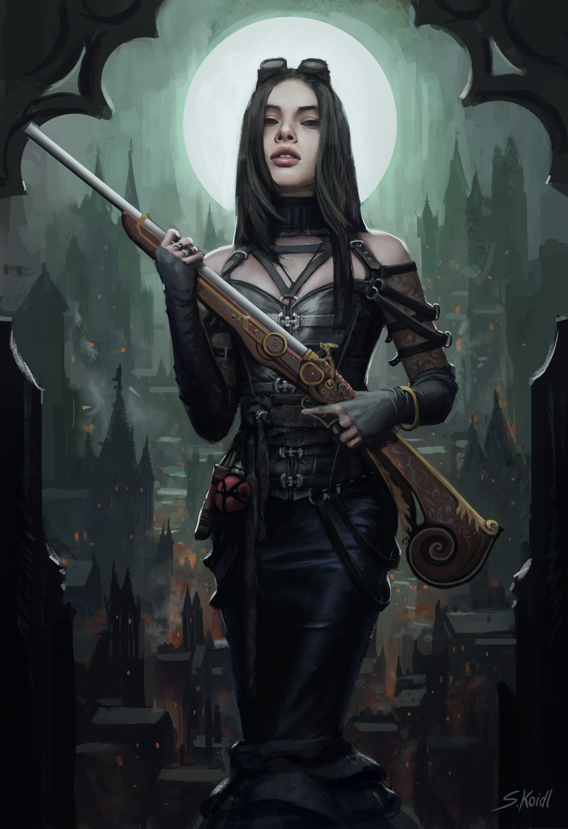 artstation steampunk huntress stefan koidl