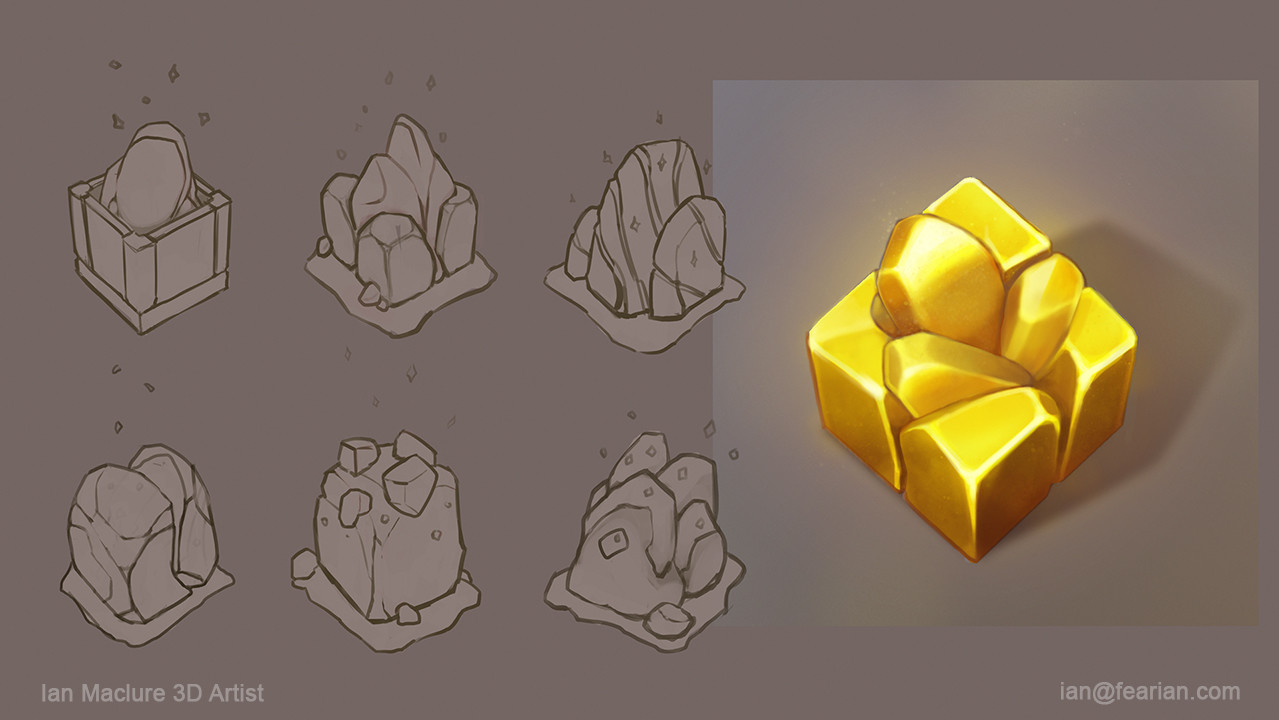 Original concept sketches for the gold block redesign.