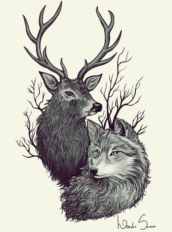 Lourdes saraiva deer wolf by agnes green d8icer7