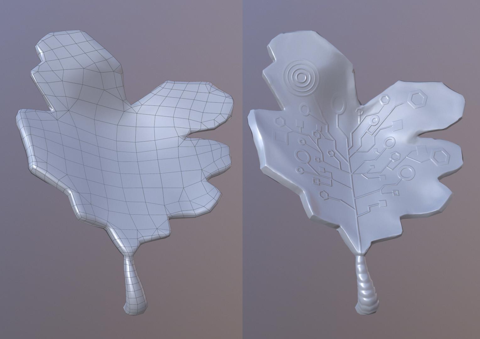 Lowpoly /Highpoly sci-fi leaf