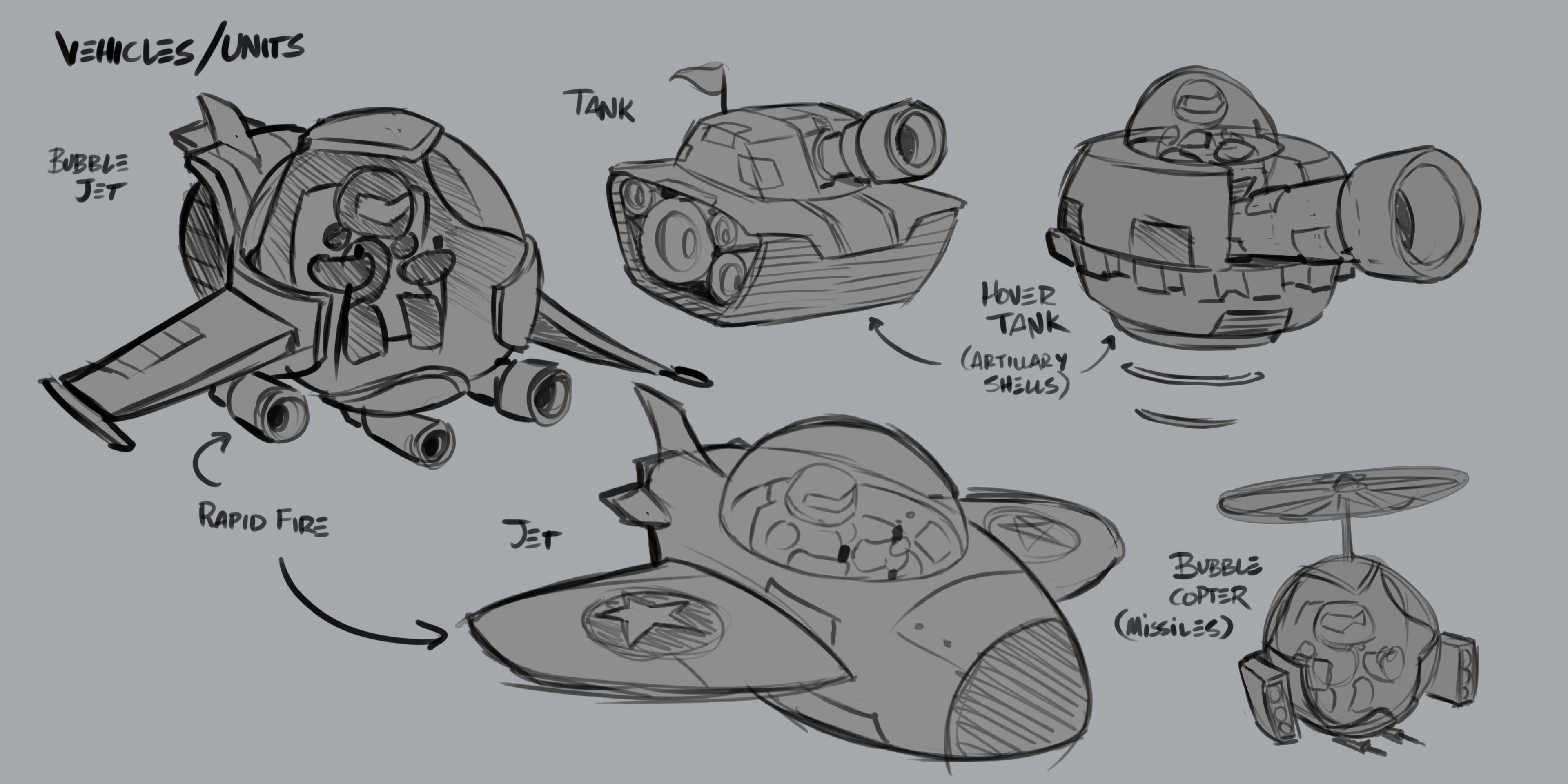 Early unit design exploration, deciding if thematically it would be best to depict units as more traditional military, or add in science fiction elements.