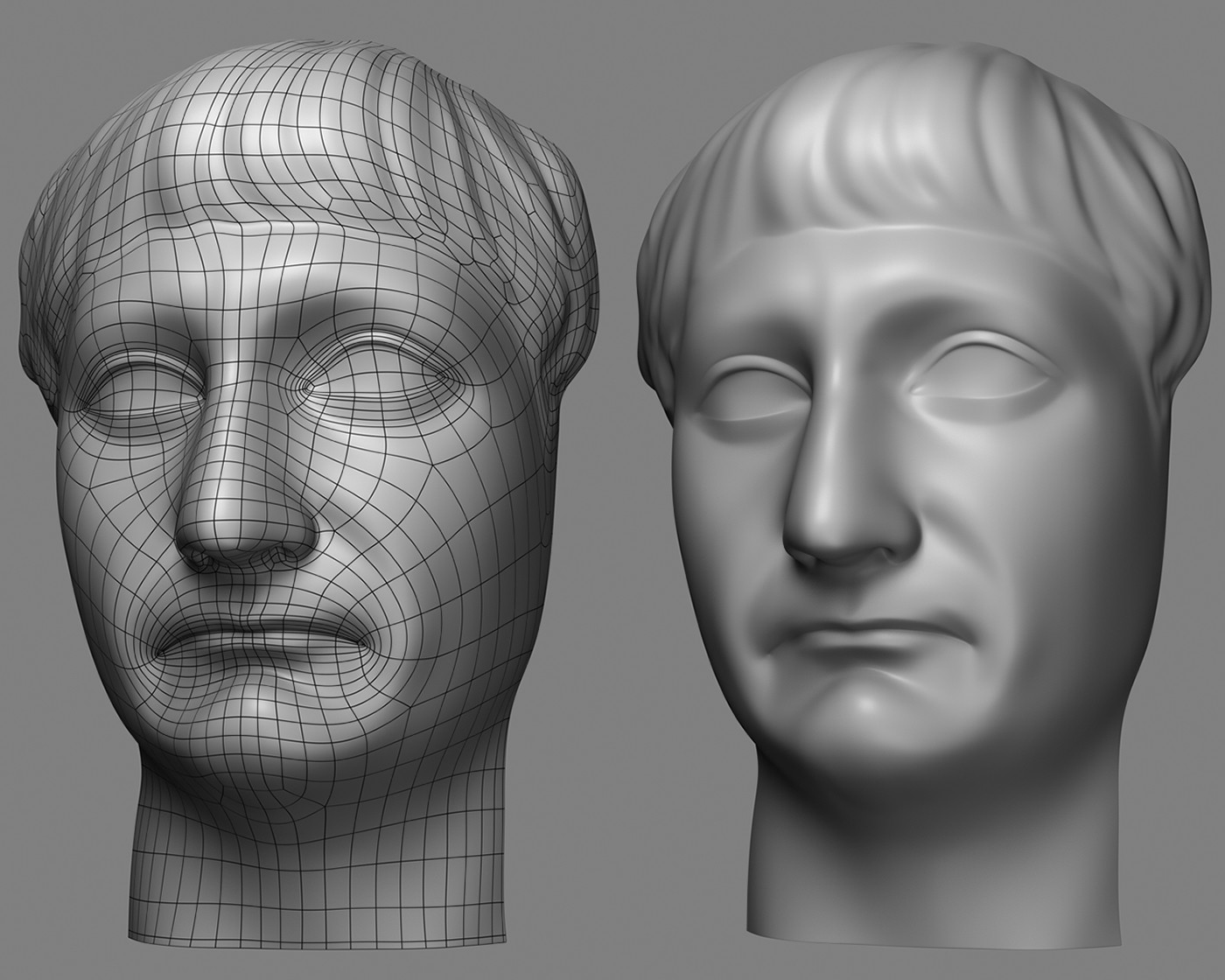 This is a retopo model I did on a scan of the Emperor Trajan sculpture.