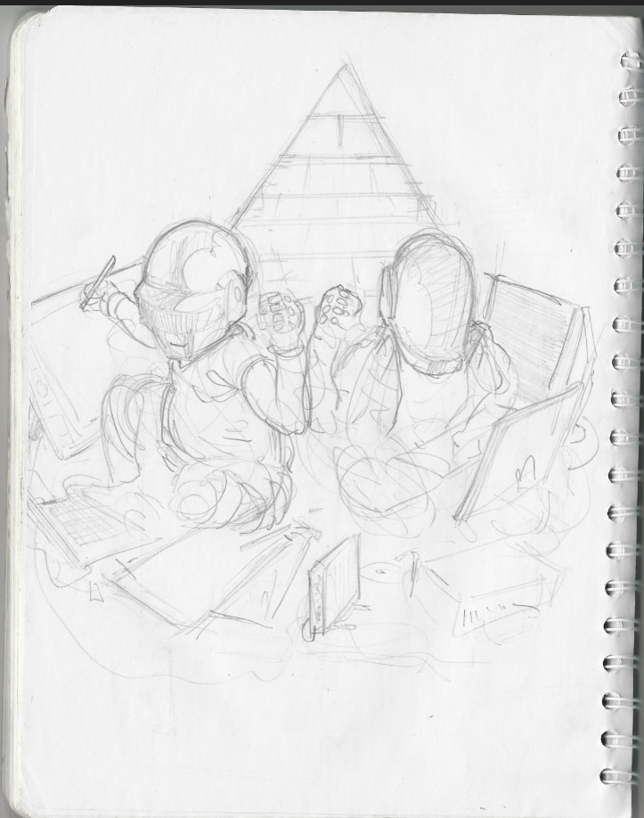 my first sketch had a pyramid on the back for a vertical composition. decided to go horizontal and take the pyramid out.