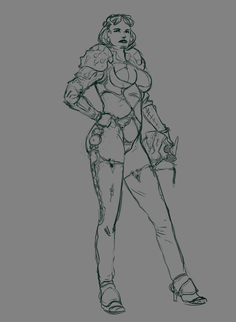 West clendinning armoured woman sketch