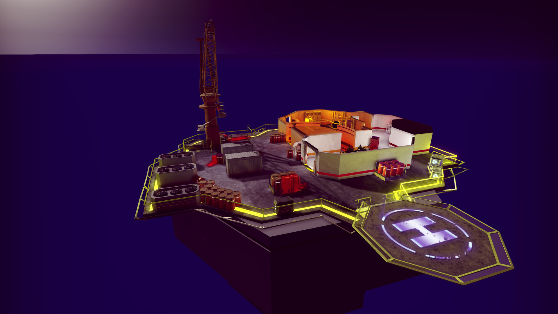 Map: Oil Rig - The first map that was designed after all of our gameplay elements had begun finalized. I used everything that our game was based around to make the level more interesting and engaging.
