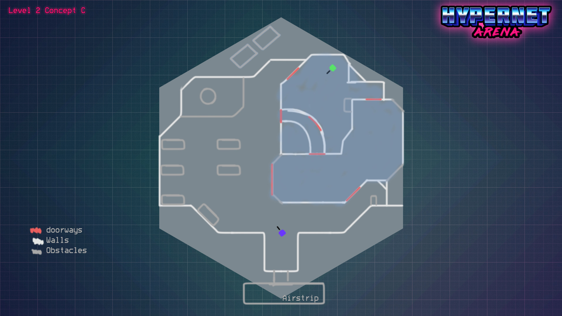 I created a handful of sketched out level designs before i began grayboxing the level. This one was the best out of all my concepts.