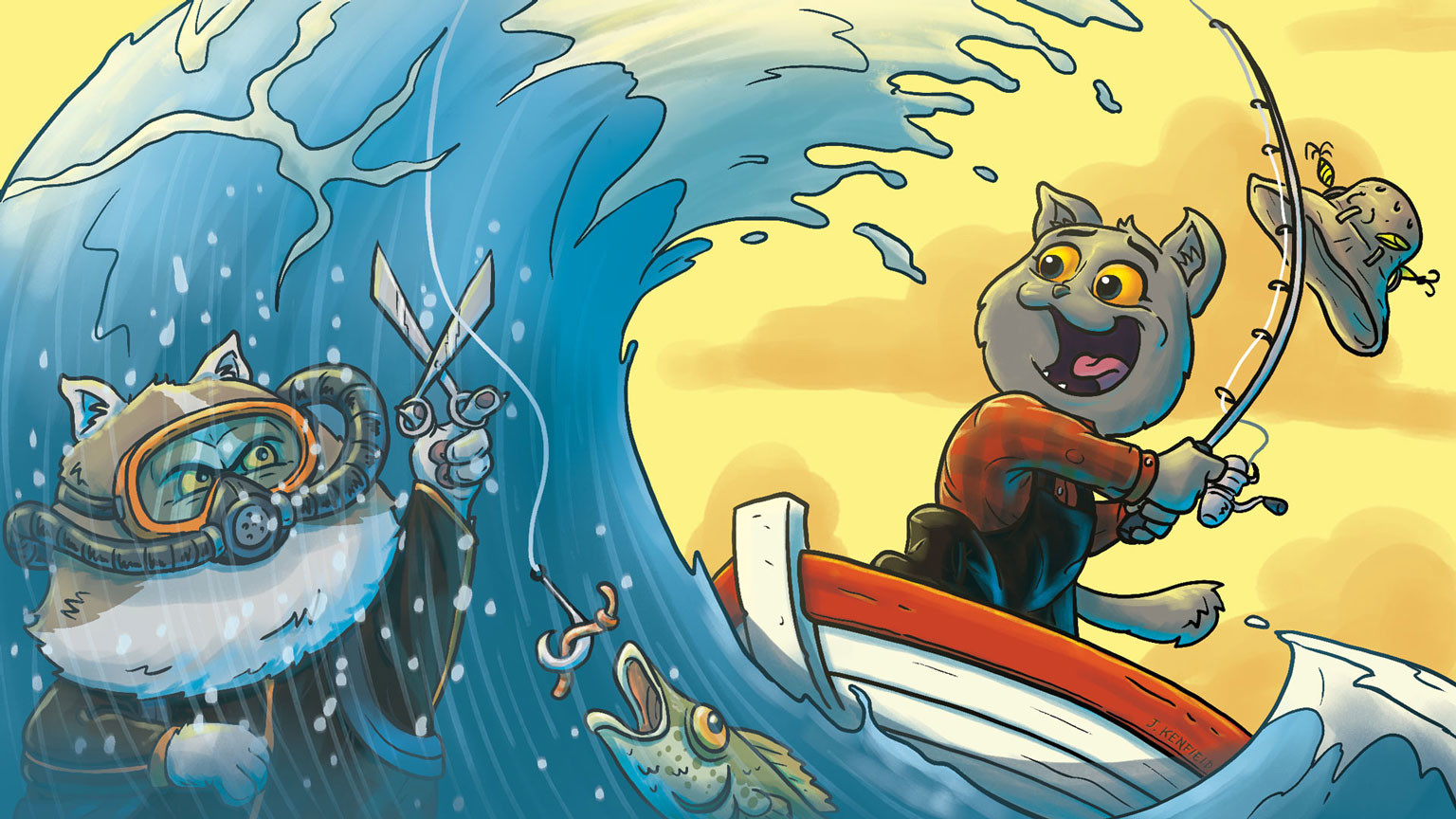"""Drawing for the Aaron's Animals video """"When Cats Go Fishing""""."""