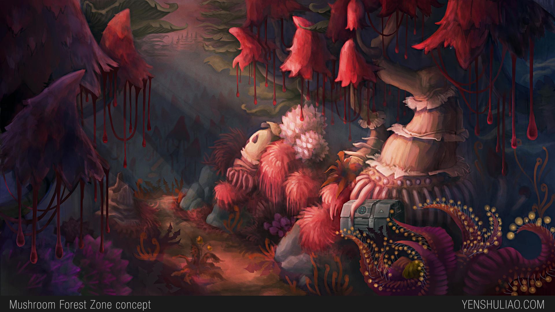 Yen shu liao environment concept art yen shu liao mushroom forest