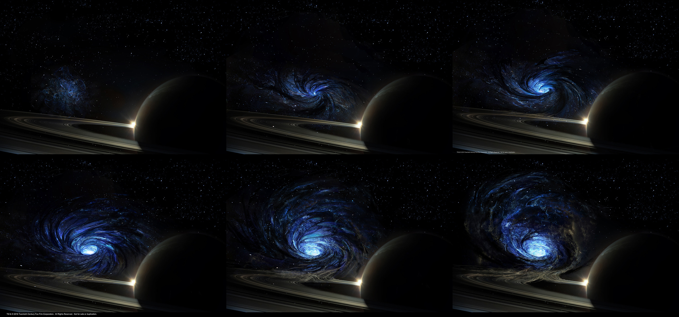 The opening of the wormhole on Saturn. Tendrils of dark matter create the connective tissue between our galaxy and the blue lit one from which the aliens come from.