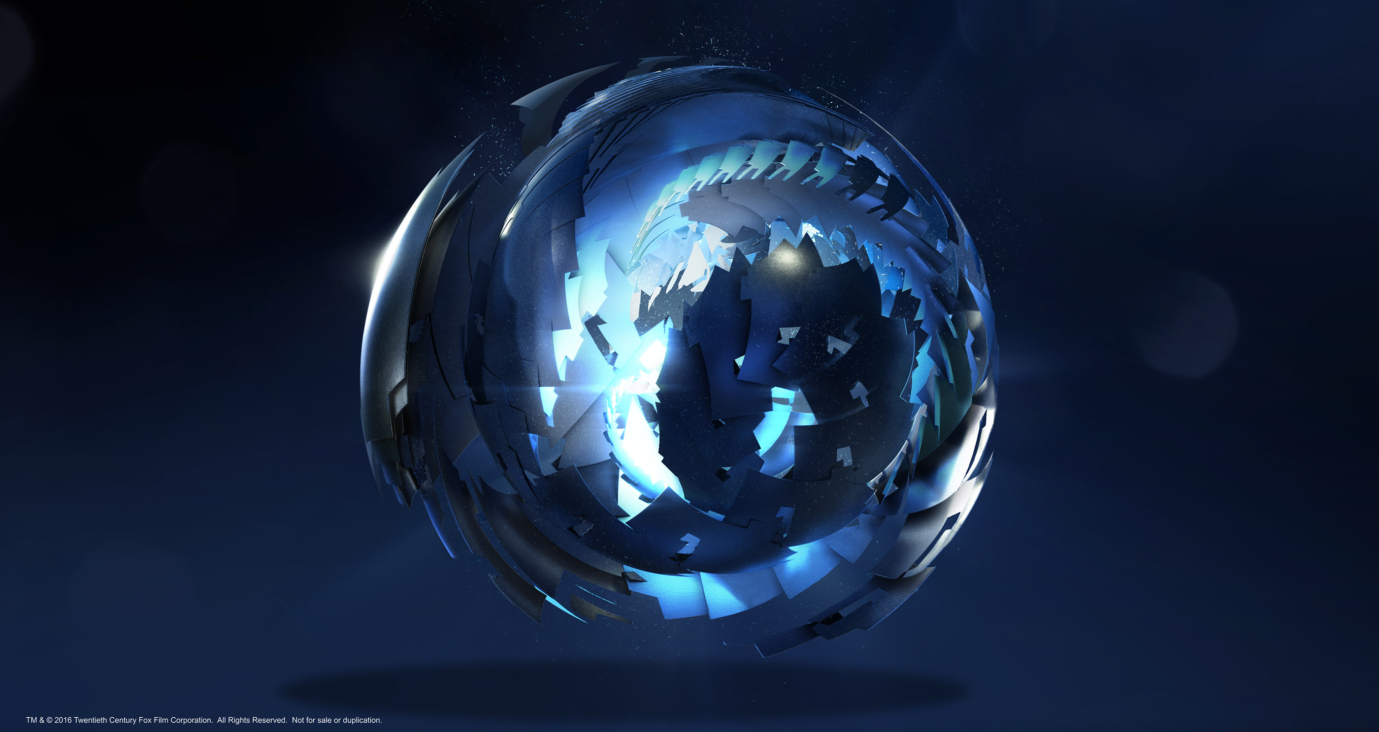 During the production phase there was a moment in which the director wanted to develop the idea of the AI sphere opening and unfolding to reveal a more complex aspect of itself inside.  AI Orb, unfolding: 1 of 3