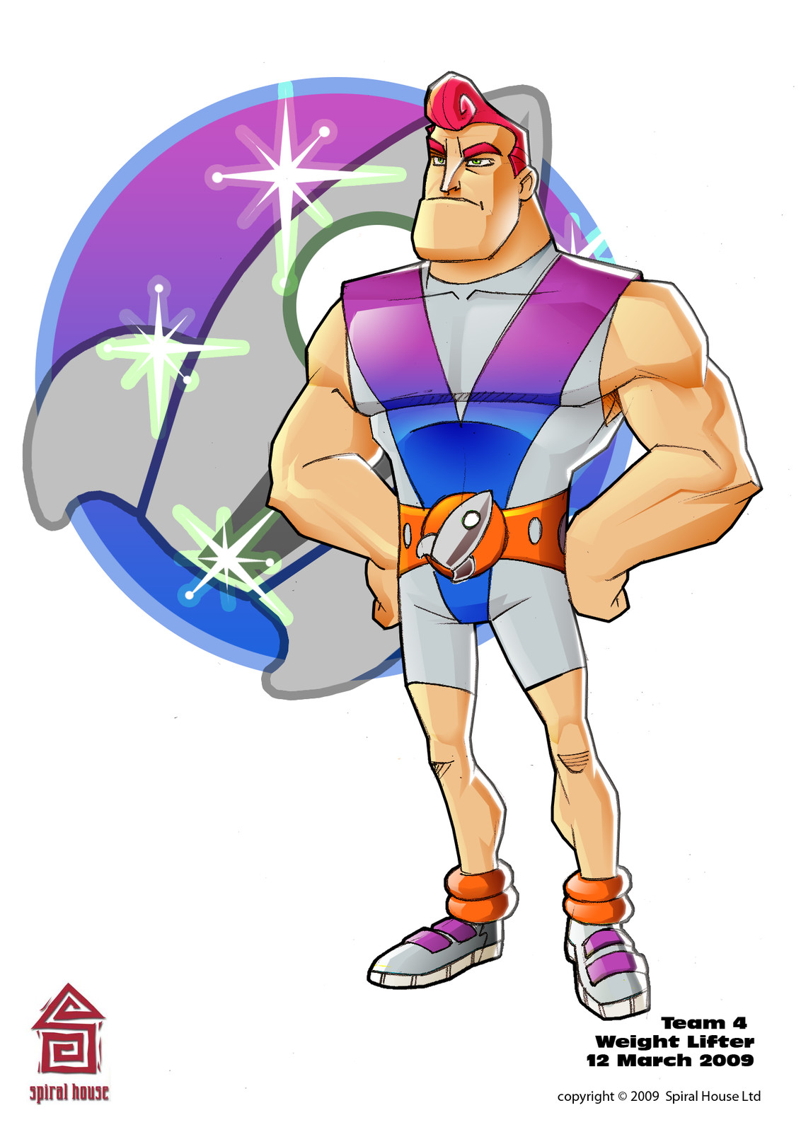 Colour concept of Team 4 Wrestler character for AR game.