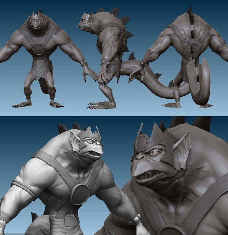 WIP sculpt of Slythe from Thundercats
