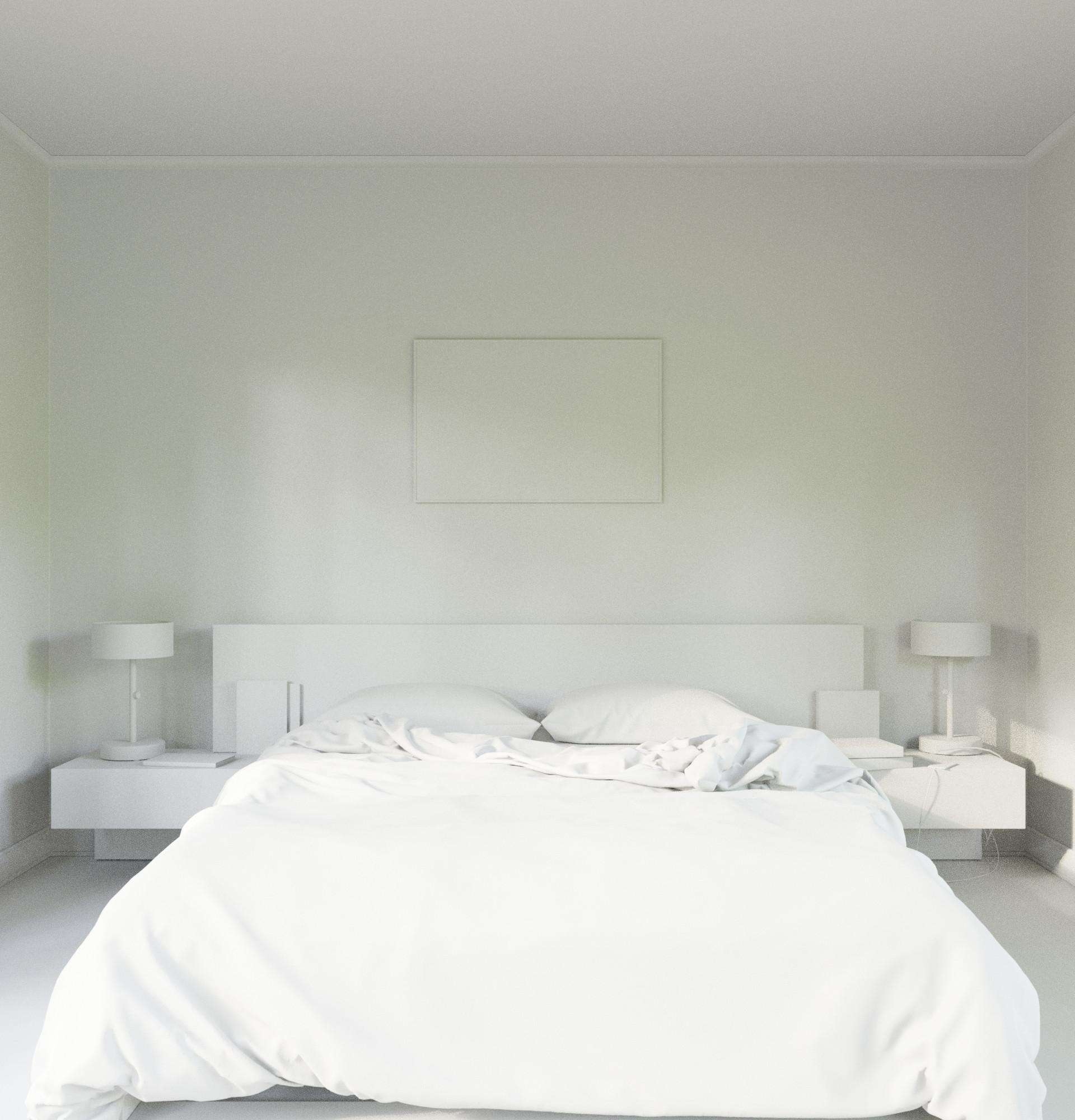 Patterned Bedroom - Clay Render